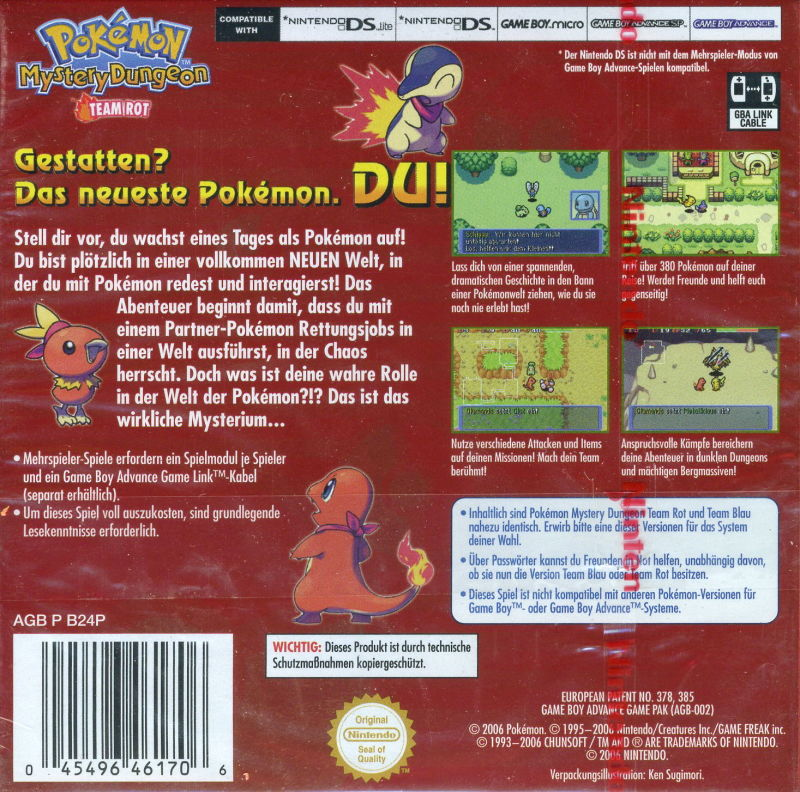 Pokémon Mystery Dungeon: Red Rescue Team Game Boy Advance Back Cover