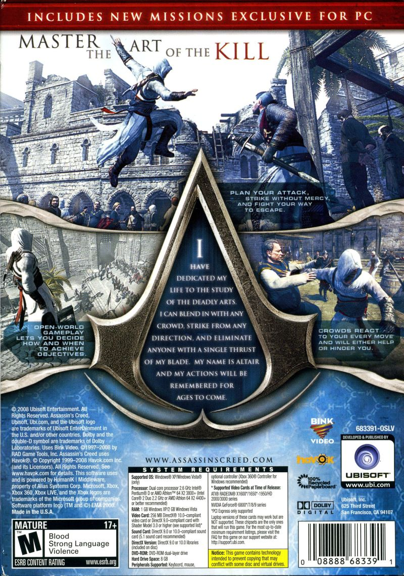 Assassin's Creed (Director's Cut Edition) Windows Back Cover