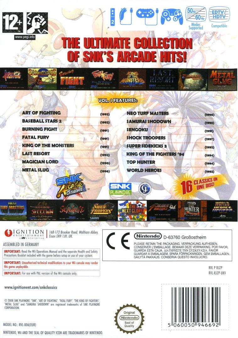 SNK Arcade Classics Vol. 1 Wii Back Cover