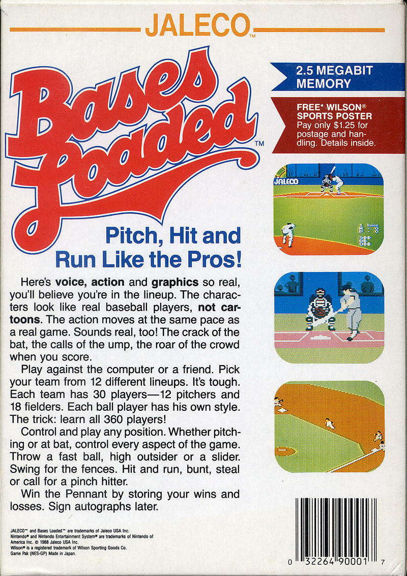 Bases Loaded NES Back Cover
