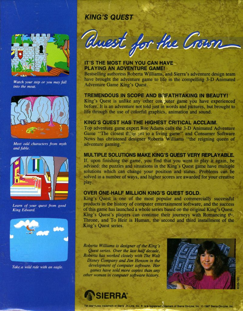 King's Quest Atari ST Back Cover