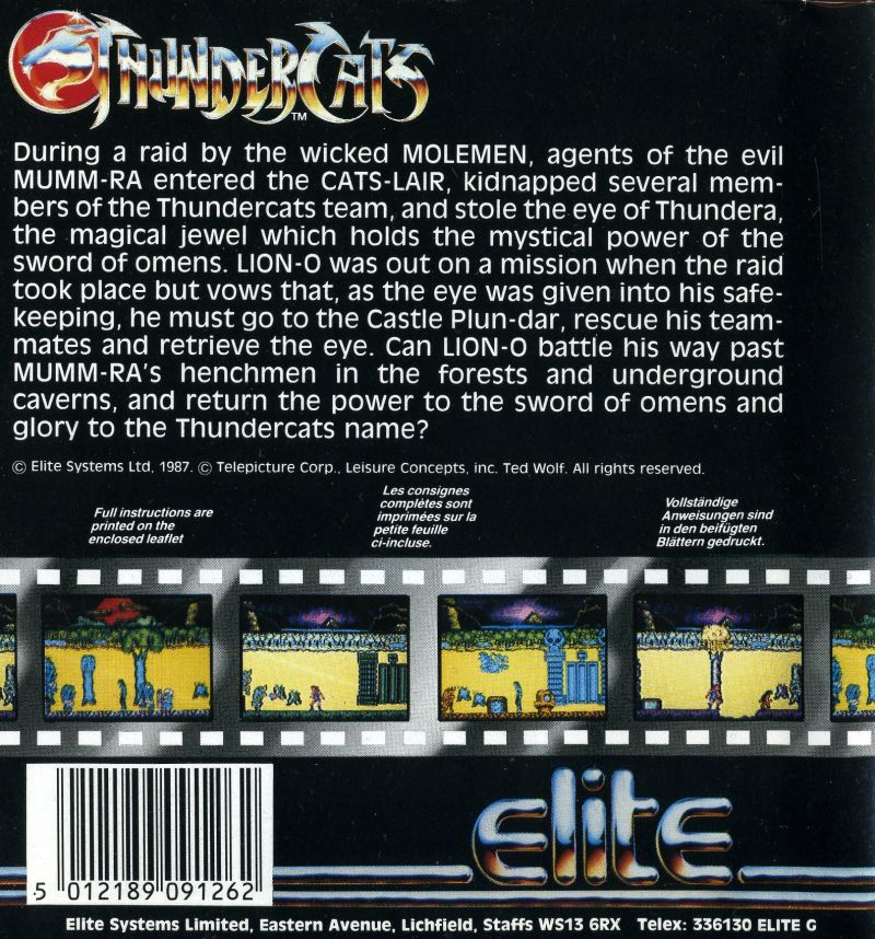 Thundercats Amiga Back Cover