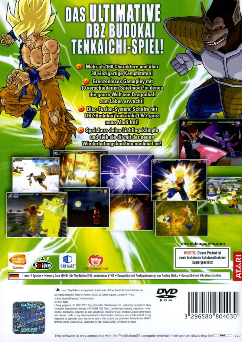 Dragon Ball Z Budokai Tenkaichi 3 2007 Playstation 2 Box Cover Art Mobygames