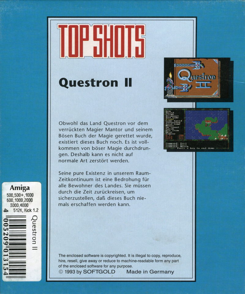 Questron II Amiga Back Cover