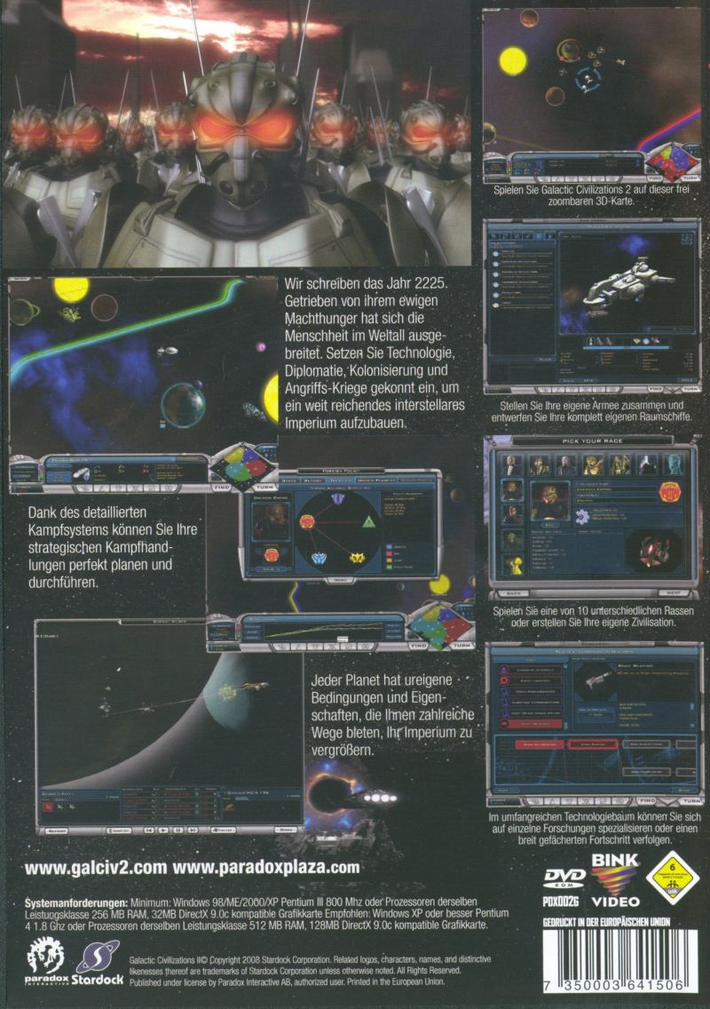 Galactic Civilizations II: Dread Lords Windows Back Cover