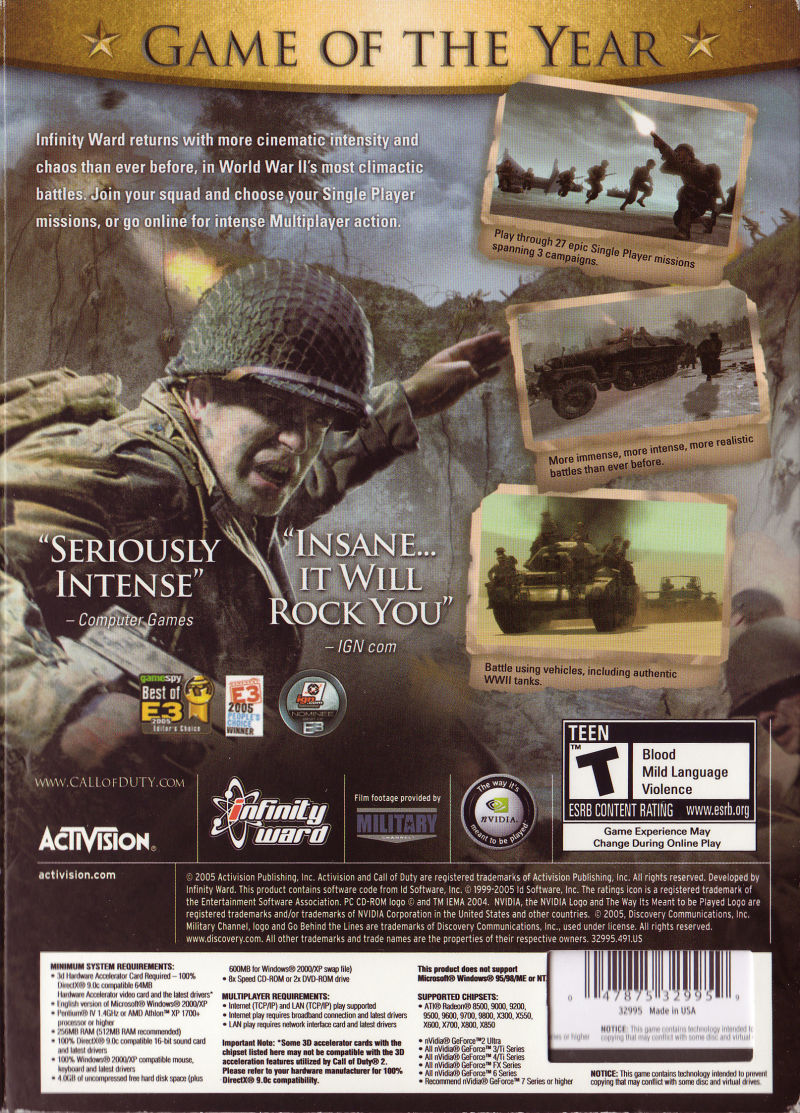 Call of Duty 2 (Game of the Year Edition) Windows Back Cover