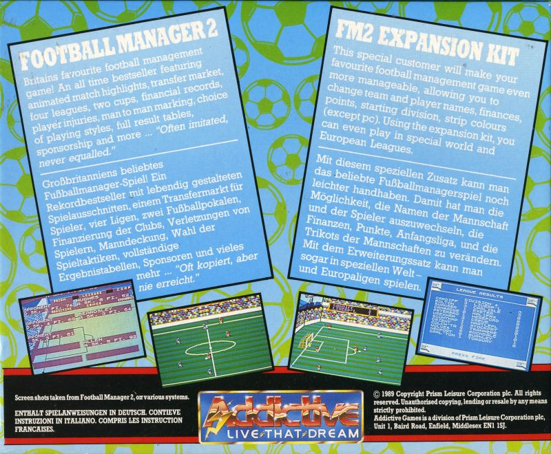 Football Manager 2 & FM2 Expansion Kit Commodore 64 Back Cover