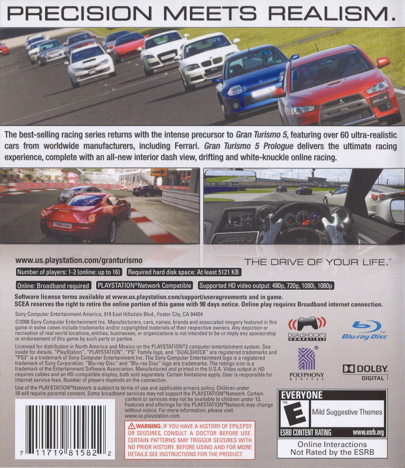 Gran Turismo 5: Prologue PlayStation 3 Back Cover