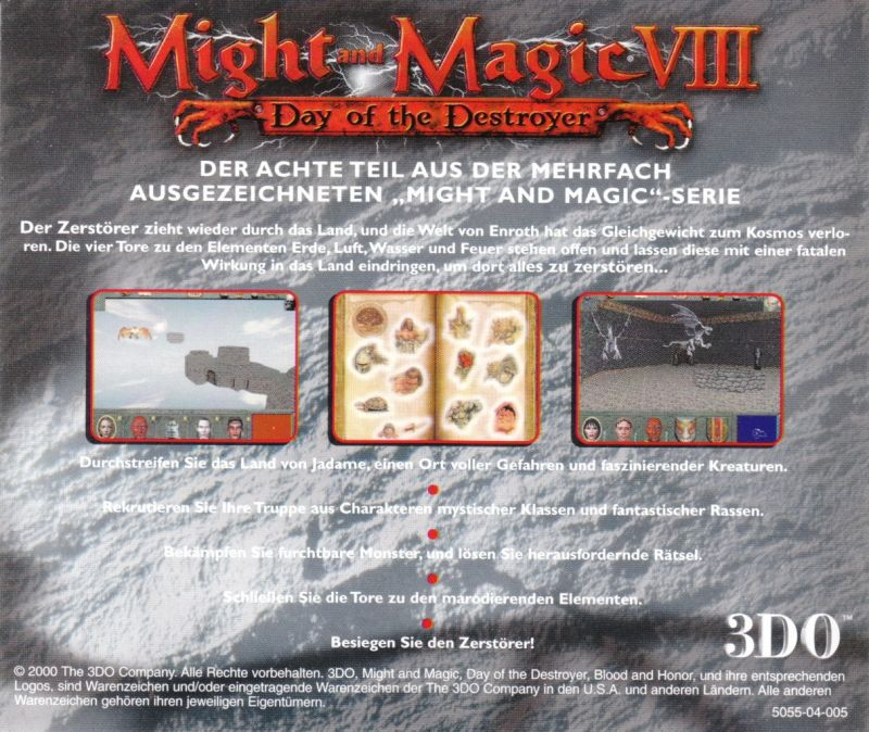 Might and Magic VIII: Day of the Destroyer Windows Other Jewel Case - Back
