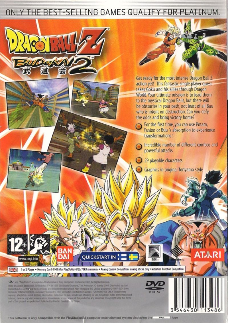 Dragon Ball Z: Budokai 2 PlayStation 2 Back Cover