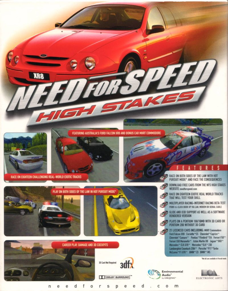 Need For Speed High Stakes Windows Back Cover