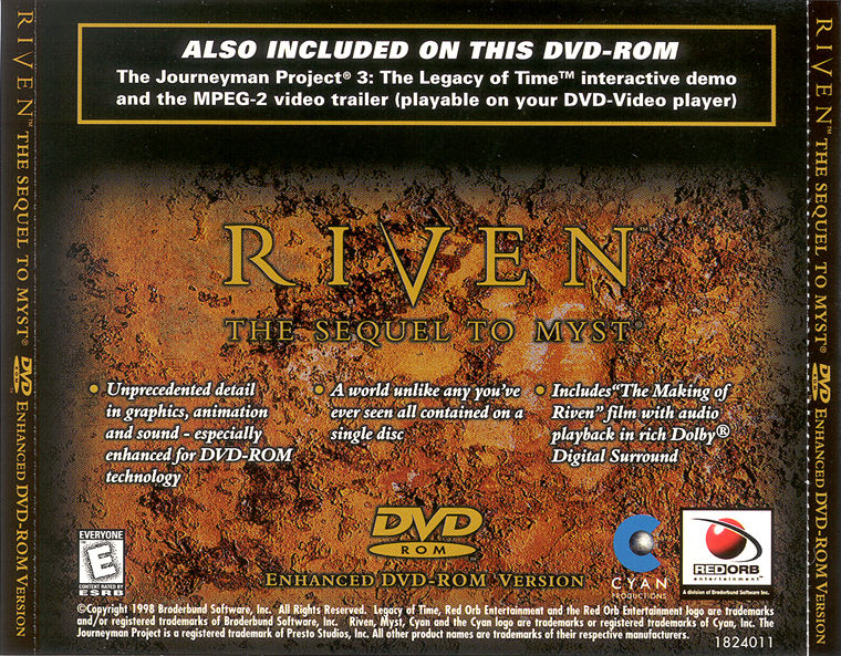 Riven: The Sequel to Myst Macintosh Other Jewel Case - Back