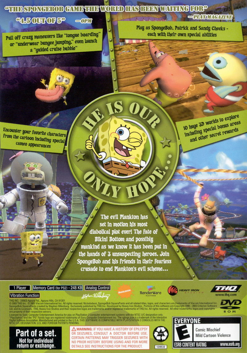 spongebob squarepants happy squared double pack playstation 2 other spongebob squarepants battle for bikini - Spongbob 2