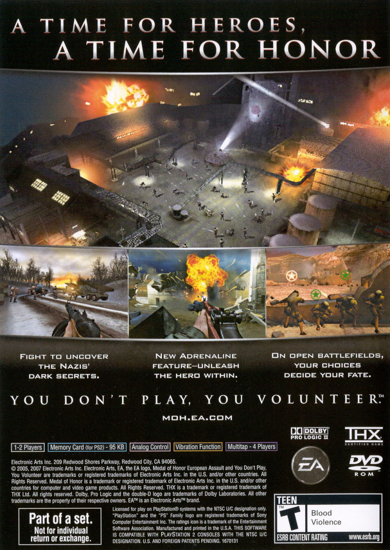 Medal of Honor Collection PlayStation 2 Other Medal of Honor: European Assault - Keep Case - Back