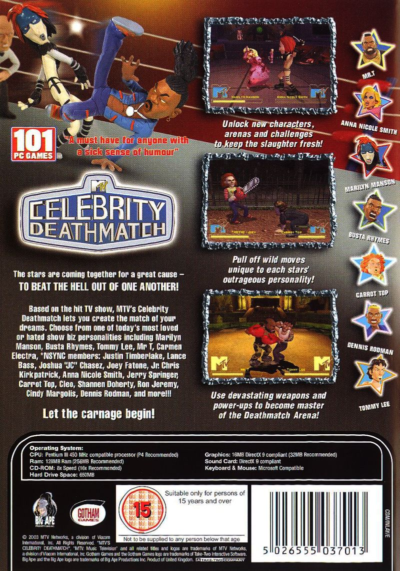 MTV Celebrity Deathmatch Windows Back Cover