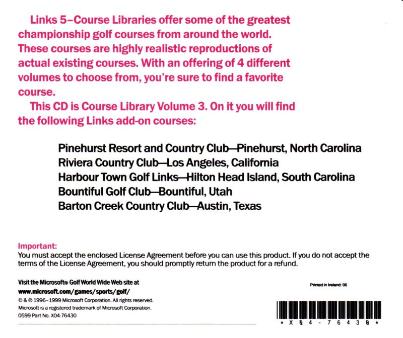 Links: 5-Course Library - Volume 3 DOS Other Jewel Case - Back