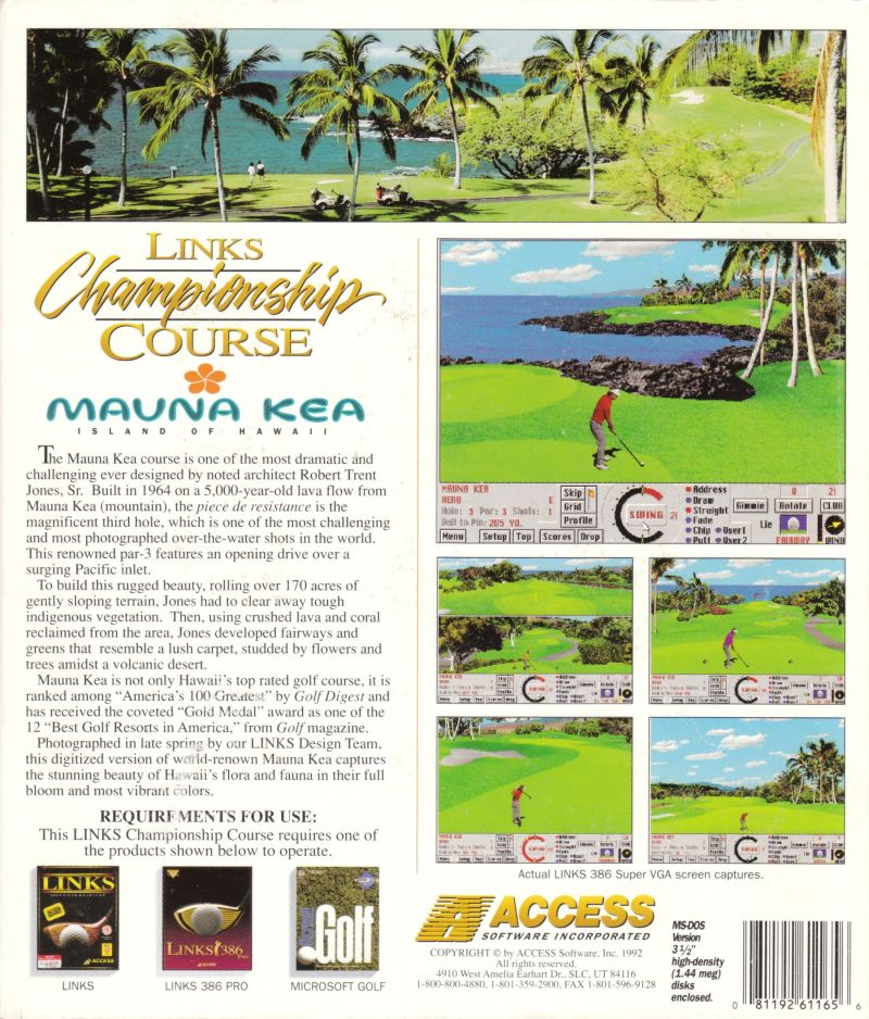 Links: Championship Course - Mauna Kea DOS Back Cover