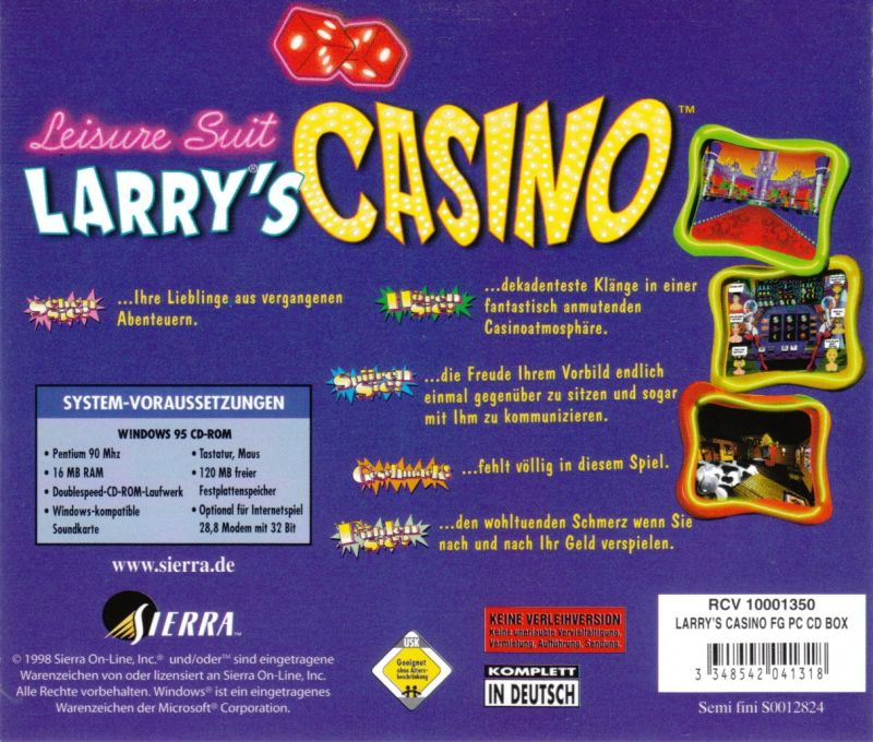 Leisure Suit Larry's Casino Windows Other Jewel Case - Back