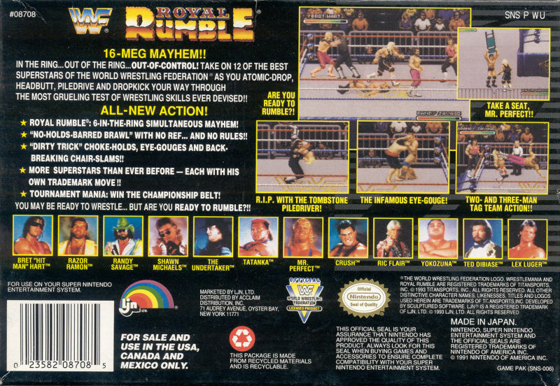 WWF Royal Rumble SNES Back Cover