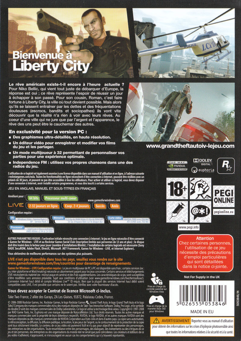 Grand Theft Auto IV Windows Back Cover