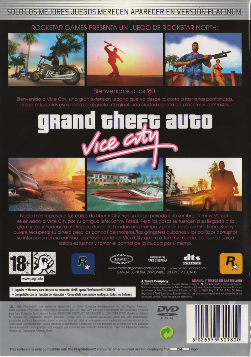Grand Theft Auto: Vice City PlayStation 2 Back Cover