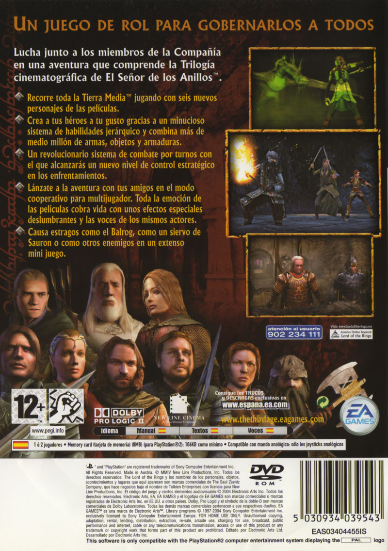 The Lord of the Rings: The Third Age PlayStation 2 Back Cover