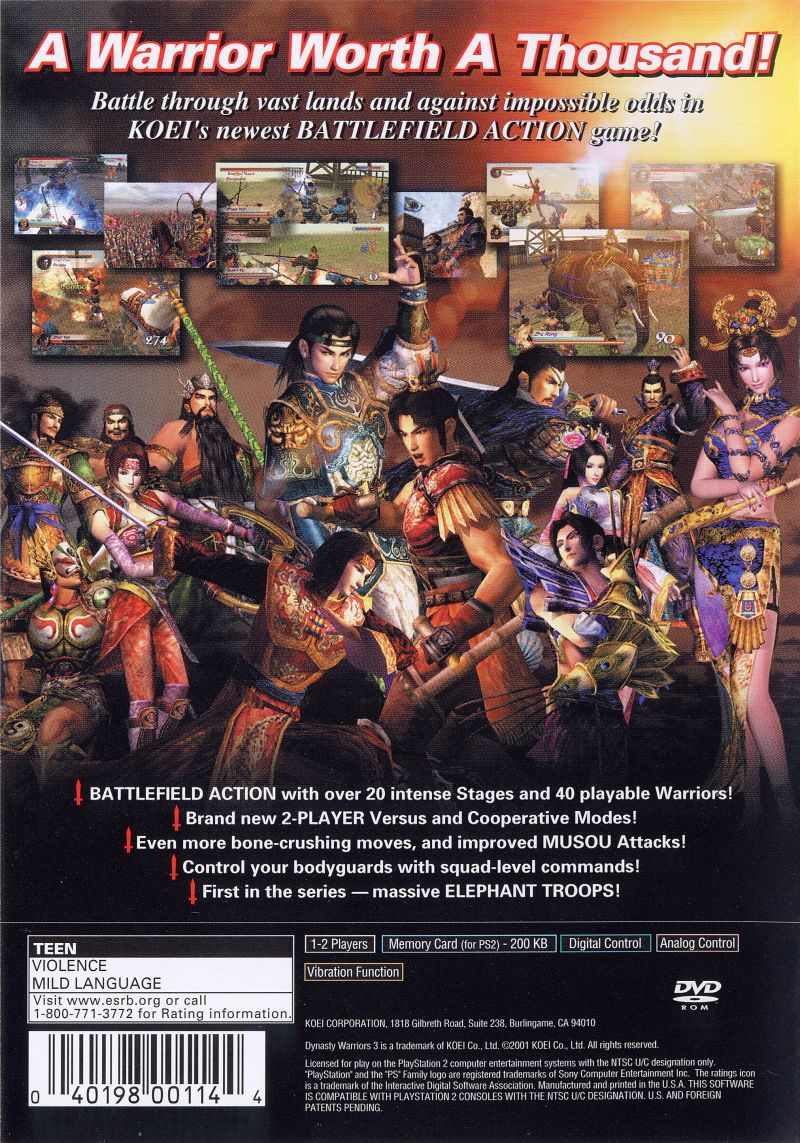 dynasty warriors 3  2001  playstation 2 box cover art