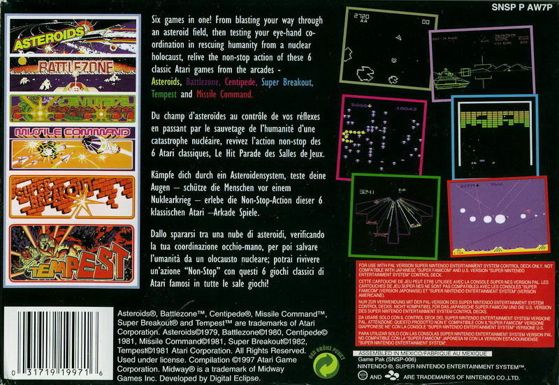 Williams Arcade Classics SNES Back Cover