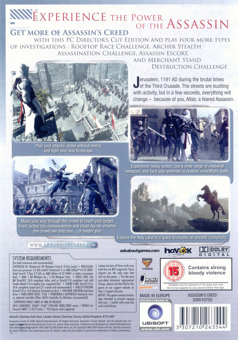 Assassin's Creed (Director's Cut Edition) Windows Other Keep Case - Back