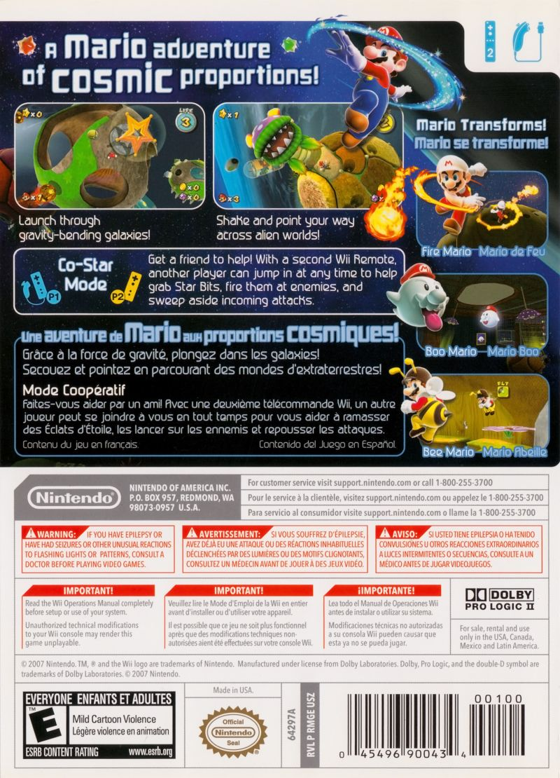 Super Mario Galaxy Wii Back Cover