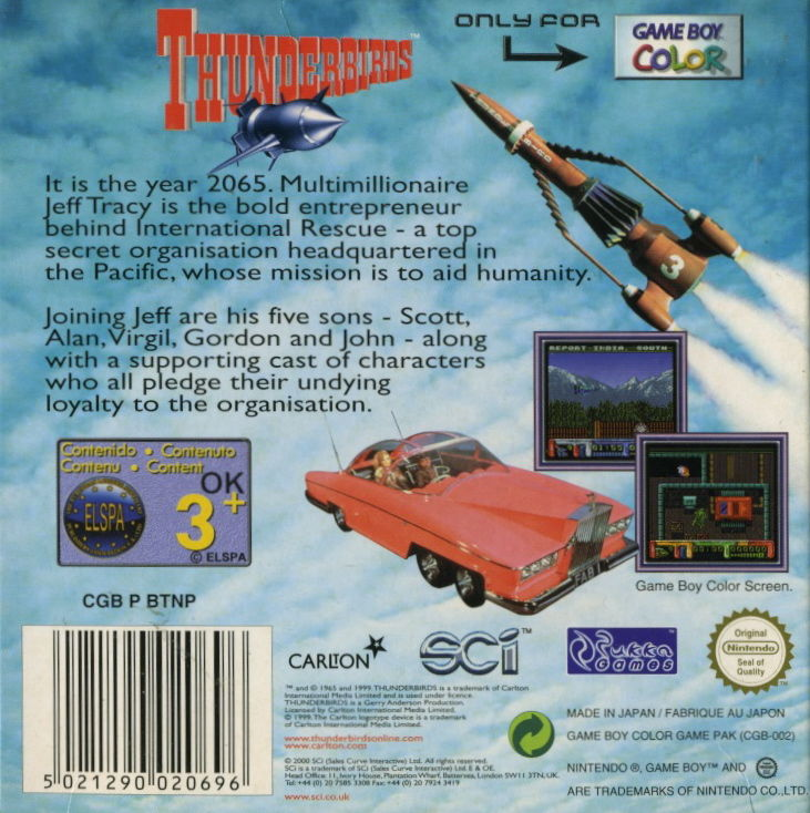 Thunderbirds Game Boy Color Back Cover