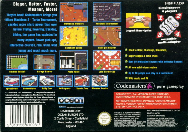 Micro Machines 2: Turbo Tournament SNES Back Cover