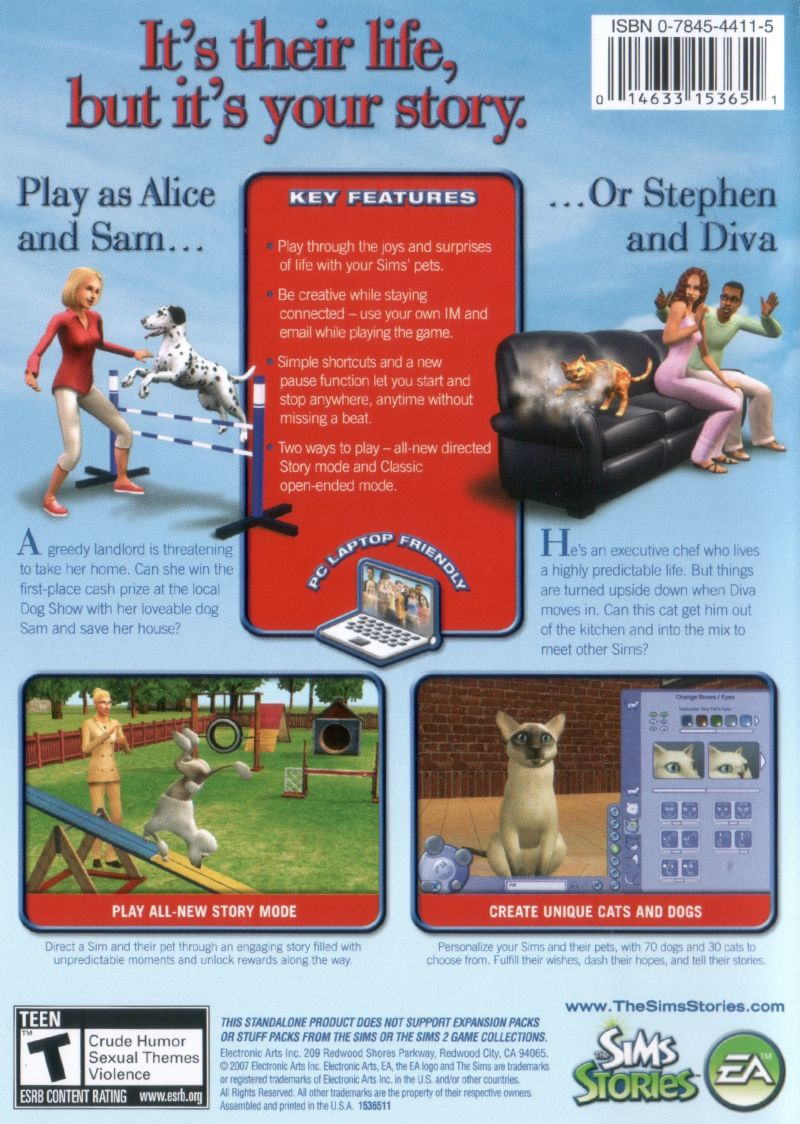 the sims pet stories 2007 macintosh box cover art mobygames