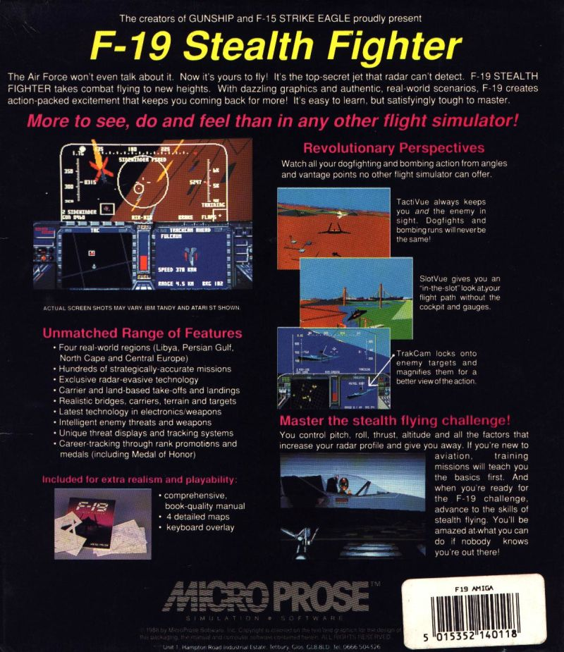 F-19 Stealth Fighter Amiga Back Cover