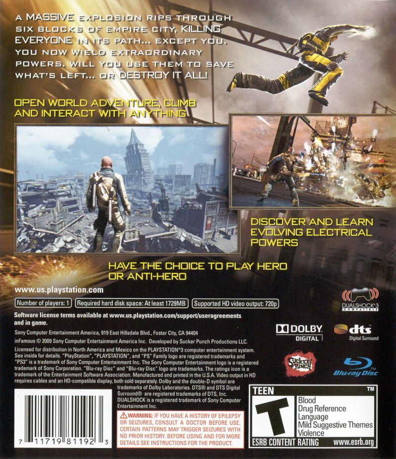 inFAMOUS PlayStation 3 Back Cover