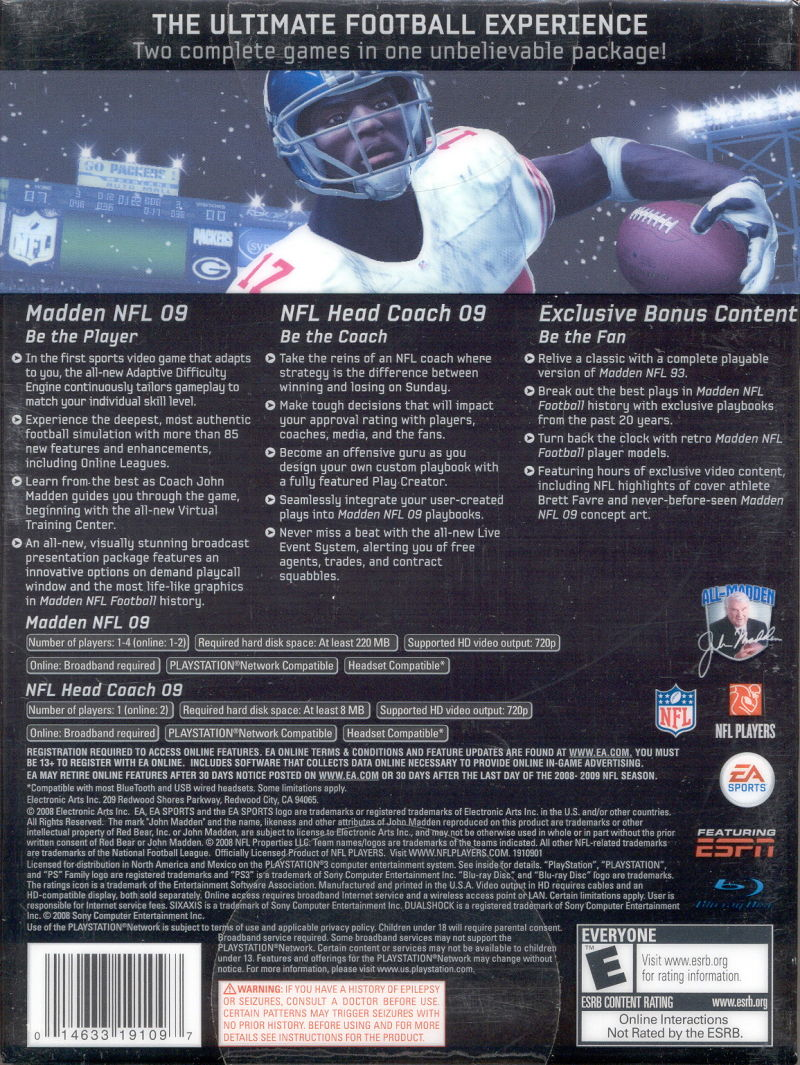 Madden NFL: XX Years (Collector's Edition) PlayStation 3 Back Cover