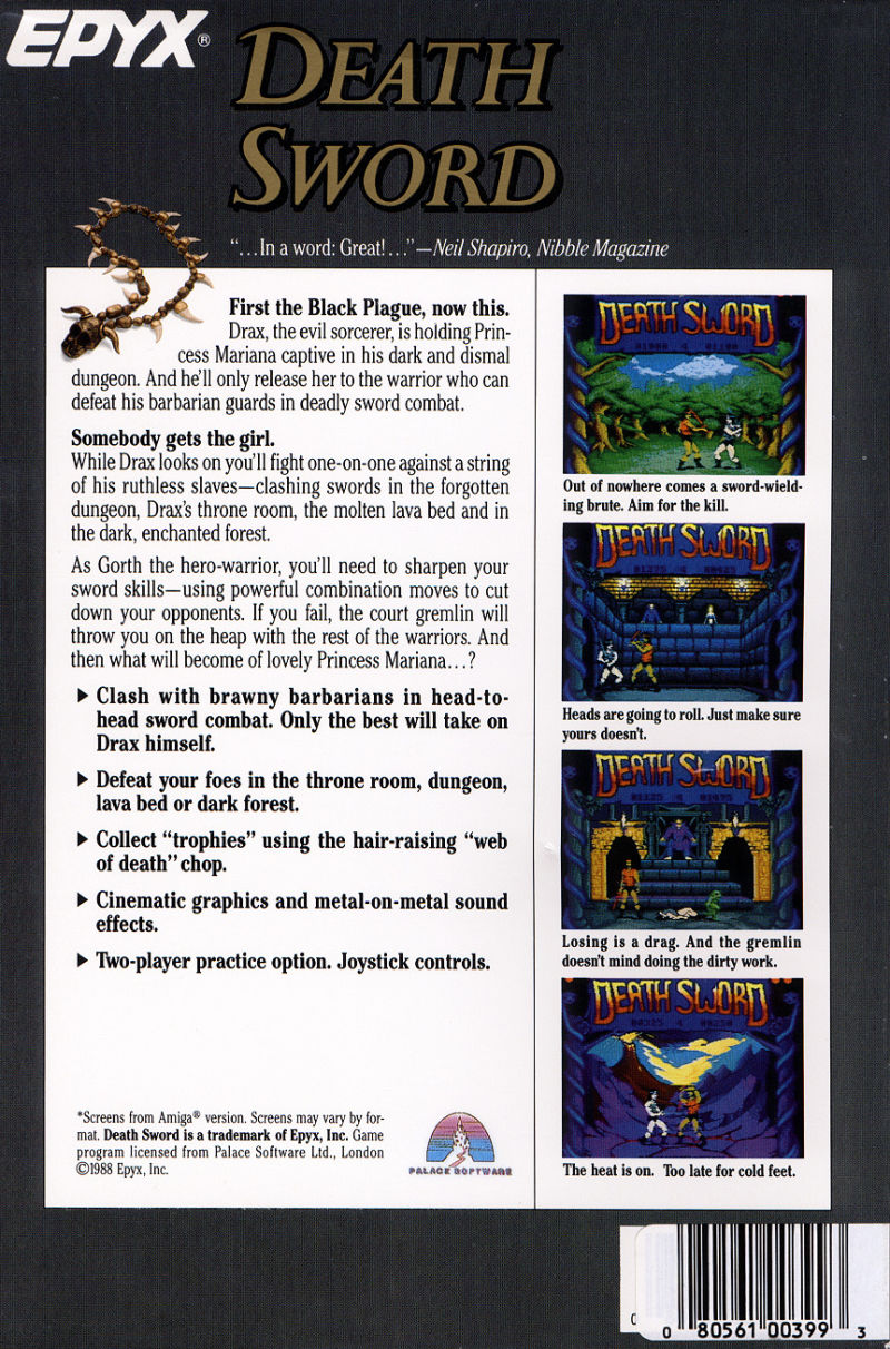 Death Sword DOS Back Cover