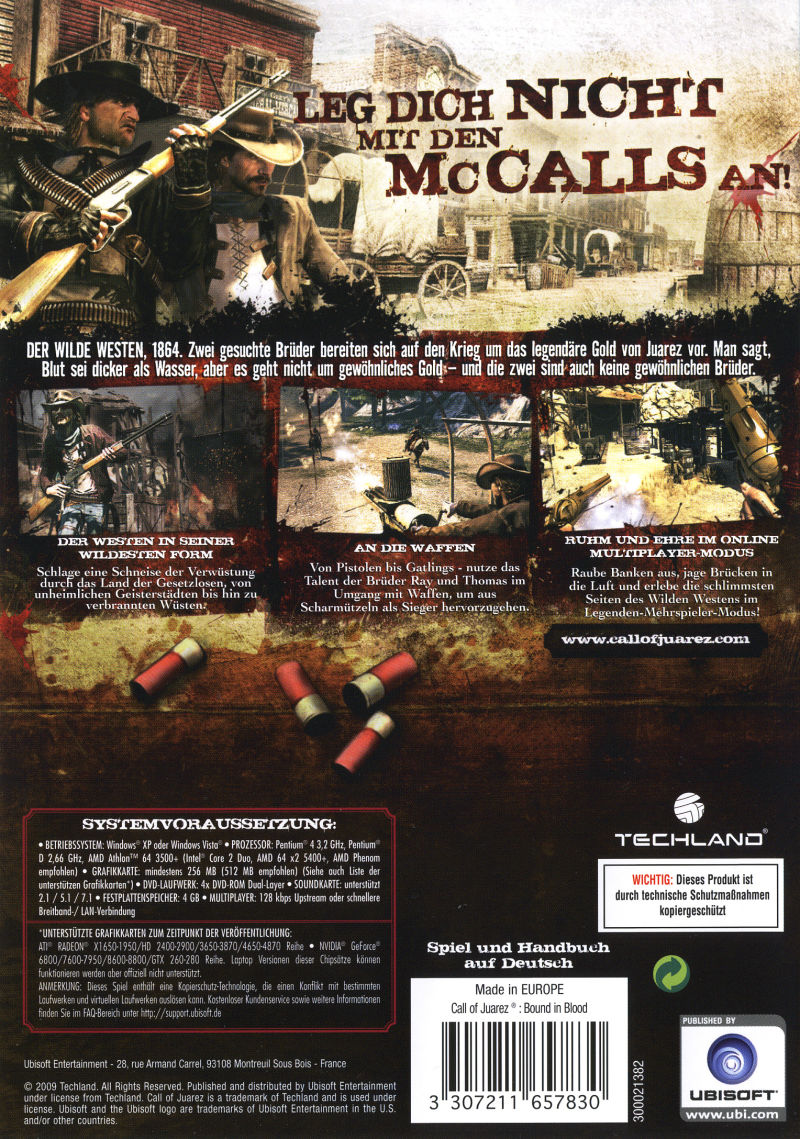 Call of Juarez: Bound in Blood Windows Back Cover