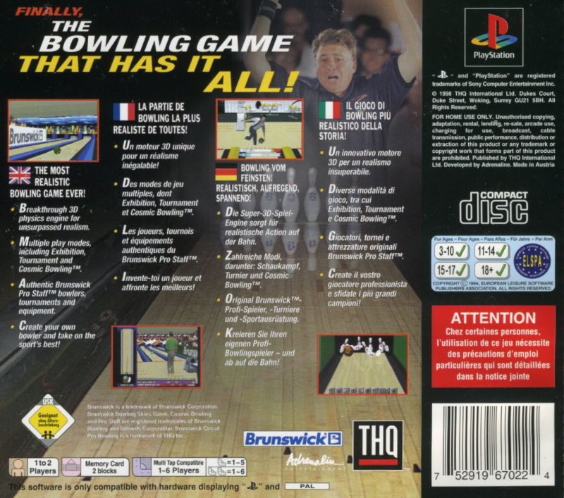Brunswick Circuit Pro Bowling PlayStation Back Cover
