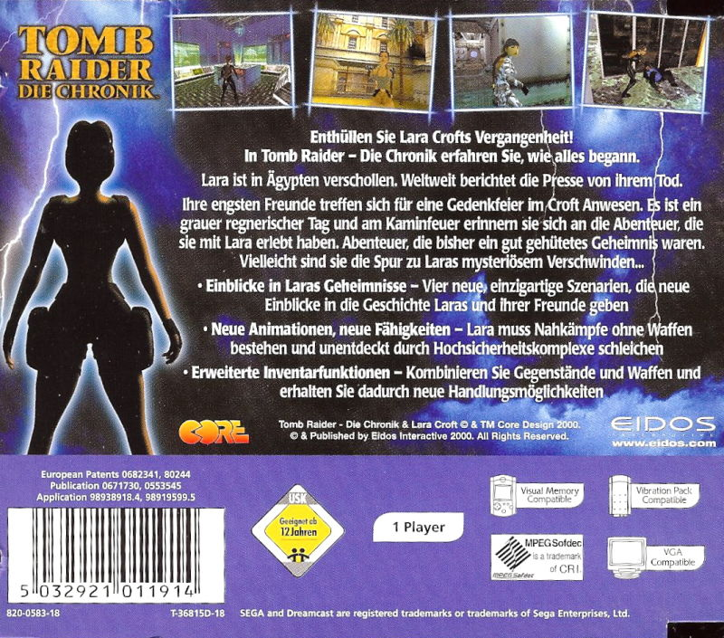 Tomb Raider: Chronicles (2000) Dreamcast box cover art ...