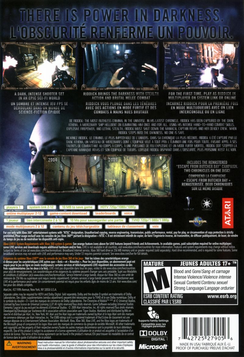 The Chronicles of Riddick: Assault on Dark Athena Xbox 360 Back Cover