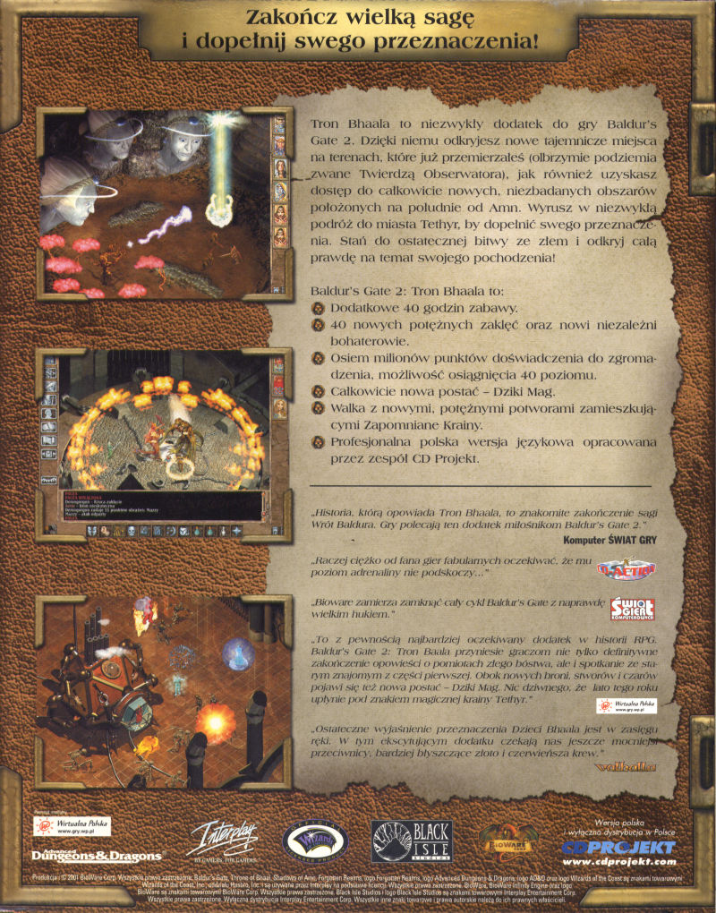 Baldur's Gate II: Throne of Bhaal Windows Back Cover