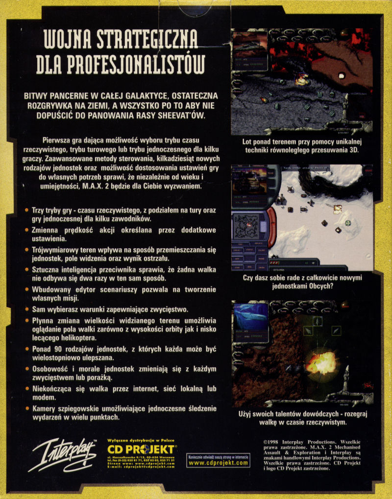 M.A.X. 2: Mechanized Assault & Exploration Windows Back Cover