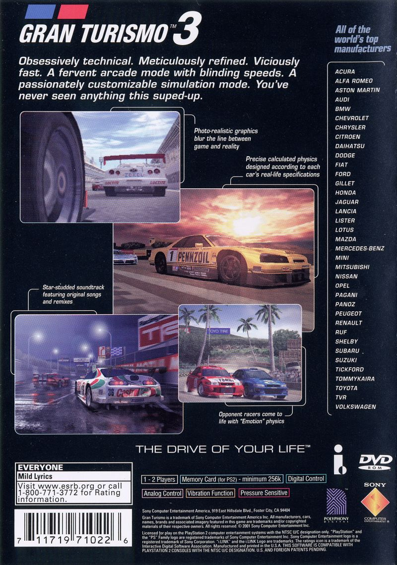 Gran Turismo 3: A-spec PlayStation 2 Back Cover