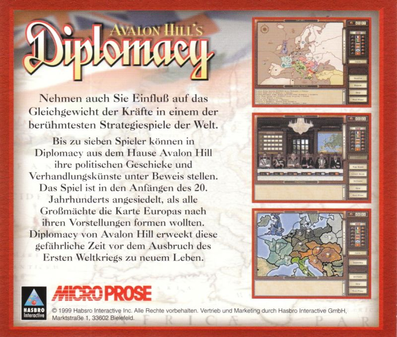 Avalon Hill's Diplomacy Windows Other Jewel Case - Back