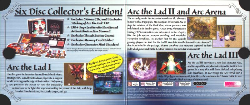 Arc the Lad Collection PlayStation Inside Cover
