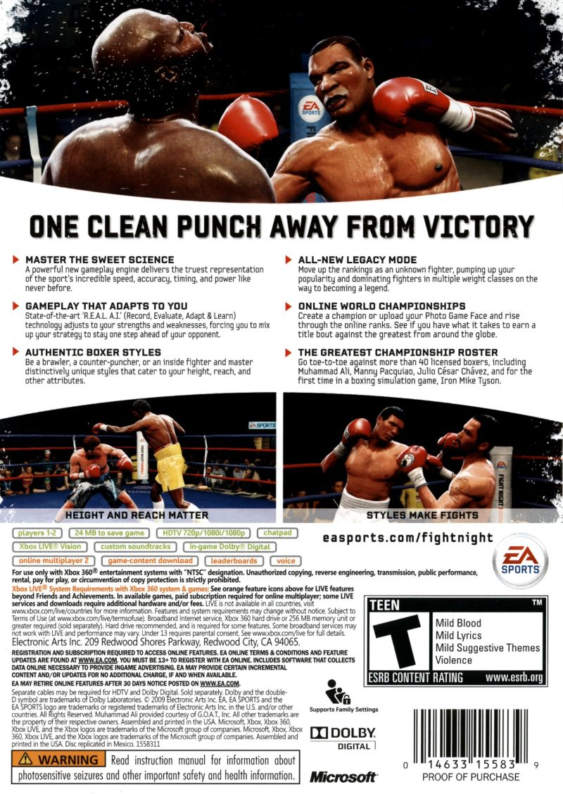 Fight Night: Round 4 Xbox 360 Back Cover
