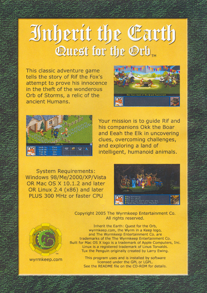 Inherit the Earth: Quest for the Orb Linux Back Cover