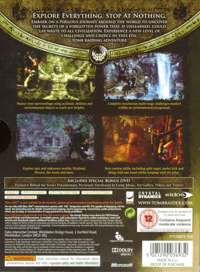 Tomb Raider: Underworld (Limited Edition) Xbox 360 Back Cover