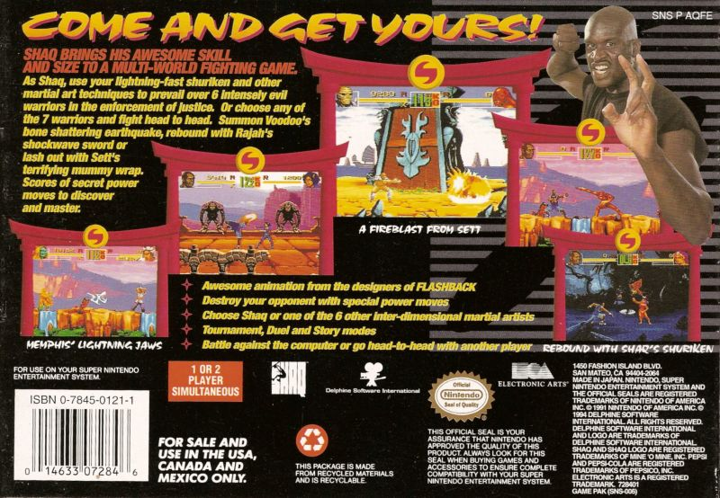 Shaq Fu SNES Back Cover
